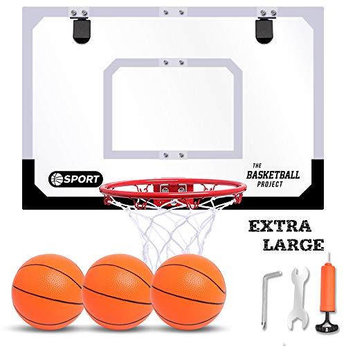 "NZQXJXZ 24"" X 16"" Large Basketball Hoop Set, Door Basketball Hoop with 3 Balls and Pump Indoor Mini Basketball Hoop for Door Wall - Basketball Toy Gifts for Kids/Boys/ Girls/Teens/Adult"