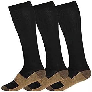 Copper Compression Socks 20-30 mmHg Graduated Men Women (3 Pairs) BLK White Nude