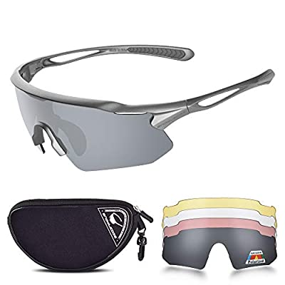 HUBO SPORTS Cycling Glasses, TR90 Unbreakable Frame Polarized Sports Sunglasses, Bike Glasses For Men Women With 5 Interchangeable Lens, Anti-UV400 For Driving Fishing Golf Baseball Running Hiking