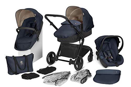 cbx 3-in-1 Kombikinderwagen-Set Bimisi Flex, 11-teilig mit Babyschale Shima, 2-in-1 Sitzeinheit mit Sportsitz und Babywanne, Jeansy Blue