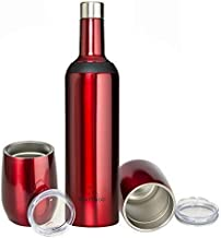 GIFT SET -INSULATED WINE BOTTLE 25oz with TWO 12oz WINE TUMBLERS; Dual Opening Stainless Steel Wine Bottle, and Two Stemless Wine Tumblers with spill proof Lids; Made for Wine and Cocktails