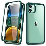 RuiPower per Cover iPhone 11 6.1 con Vetro Pellicola Protettiva Trasparente 360 Gradi Full Body Case Protezione per Display Rigida in Vetro Ultra Sottile Paraurti in Silicone - Verde Scuro