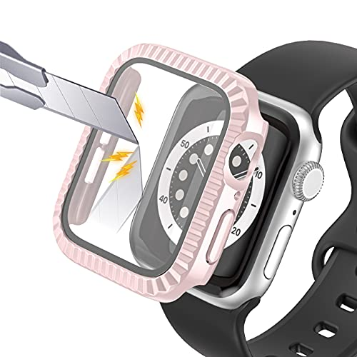 AISPORTS Compatible con Apple Watch Case de 38mm con Protector de Pantalla de Vidrio Templado,Estuche Rígido de Parachoques Resistente para PC Carcasa Protectora General para iWatch Series 3/2/1