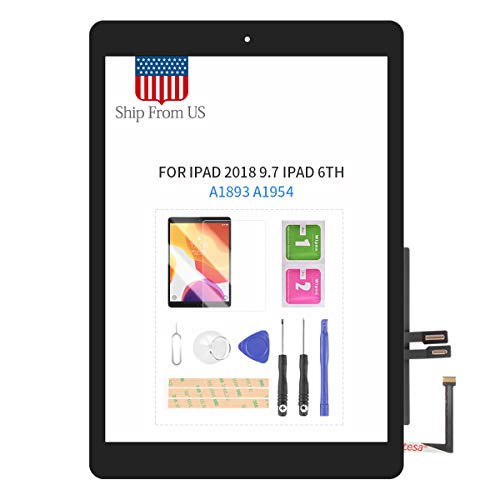 Digitizer for iPad 2018 9.7 Screen Replacement for iPad 6th A1893 A1954 Touch Screen Glass Panel with Home Button Repair Parts for iPad6 Touchscreen Free Tools Kits (Black with Home Button)