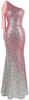 Angel-fashions Women s Asymmetric Ribbon Gradient Sequin Mermaid Long Prom Dress  L Pink Silver