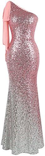Angel-fashions Damen-Kleid, asymmetrisch, Schleife, Farbverlauf, Pailletten, Meerjungfrau, langes Ballkleid - Pink - Klein