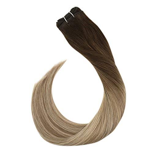 Ugeat Weaving Tressen Haare Echthaar Verdichtung 100Gramm Bundles Human Hair Sew in Haartressen zum Einnahen (60cm, Dunkelbraun bis Hellbraun und Mittelblond #3/8/22)