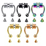 SXNK7 Magnetic Septum Nose Ring Horseshoe Cartilage Helix Fake Nose Ring Hoop Reusable Non Piercing Clips on Nose Hoop Rings