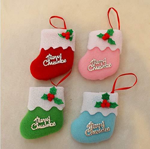 LLLKKK Calcetín de Navidad,Home Decoraciones para árboles de Navidad Botas pequeñas de Tela de Navidad Botas de Navidad Colgantes