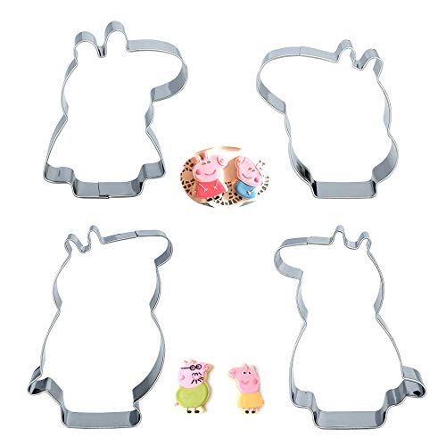Baking Funny Cookie Cutter Set Stainless Steel Cutter Molds for Biscuit Fondant Fruit Bread (Peppa)