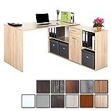RICOO Schreibtisch WM081-ES Holz Sonoma Eiche | Winkelkombination Arbeitstisch Computer Tische...