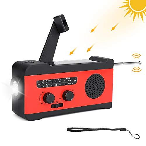[Versión actualizada] Radio de manivela solar de emergencia, radio meteorológica autoalimentada con AM/FM, linterna LED, alarma SOS, batería externa de 2000 mAh para teléfono celular
