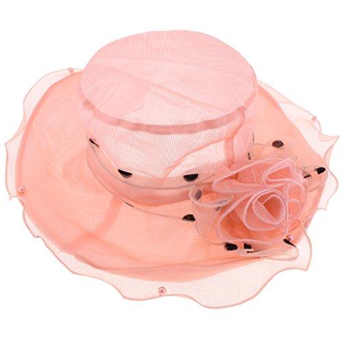 Sharplace Chapeau Large Bord Chapeau de Plage Dentelle Voyage Vêtement Accessoire Femme - Orange, comme décrit