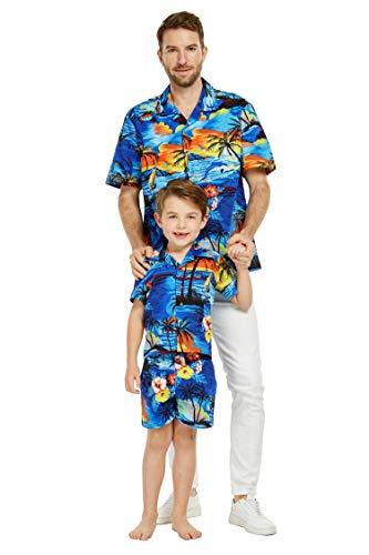 Matching Father Son Hawaiian Luau Outfit Men Shirt Boy Shirt Shorts Sunset with Dolphin Blue XL-2