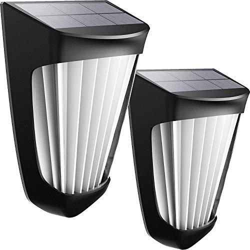 Luz Solar Decorativa Cálida, Luces Solares Mejoradas Con Sensor de Movimiento Para Exteriores, Luces de Pared Solares de Seguridad Inalámbricas IP54 a Prueba de Agua (2pcs) …