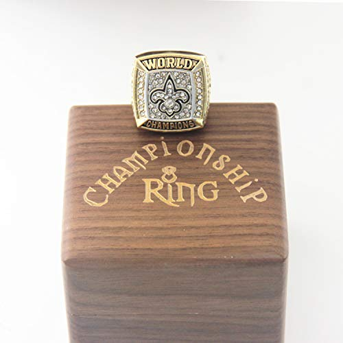 2009 ' new 'orleans 'saints Super Bowl Replica Ring with Deluxe Walnut Wooden Box size 11 championship superbowl ring christmas ornaments gifts for men youth boys women kids