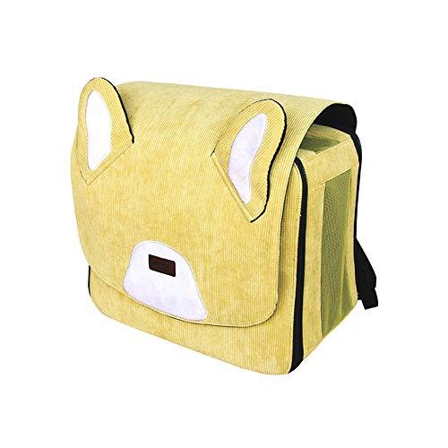 XFSE Cama de Perro Bolso Amarillo for Mascotas Espacio cápsula Gato Perro Viaje Mochila portátil al Aire Libre Forma de Pana Tela Transpirable de Dibujos Animados Lindo Divertido
