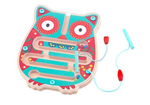 Tooky Toy Labyrinthe magnétique en bois chouette, TL073, Orange et bleu