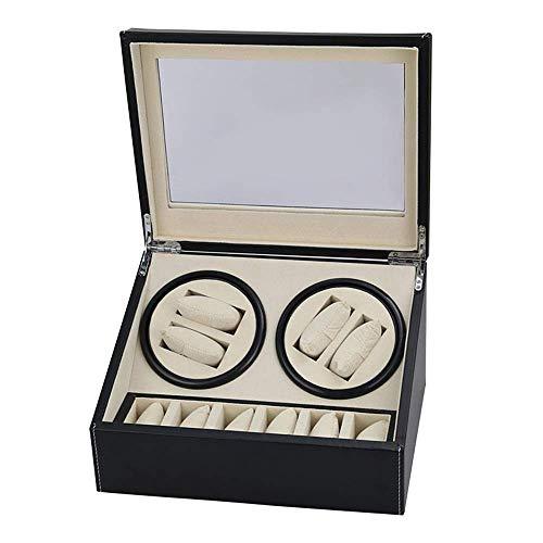 HYCy Caja de Reloj con agitador de Motor silencioso Motor silencioso con 4 Espacios de bobinado y 6 Cajas Soporte de Caja de Reloj de Barril de bobinado automático