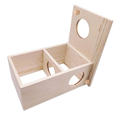 Hamster Wooden Hideout,2-Chamber Hamster House Tunnel Exploring Chew Toys Maze Hideout Hamster Habitat Decoration for Hamsters Gerbils Mice and Other Rodents
