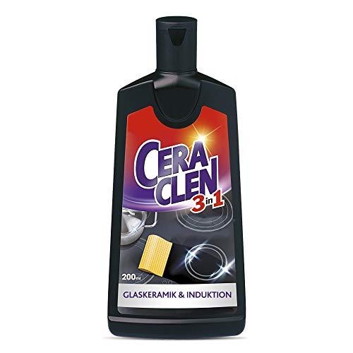 Ceraclen Detergente e cura per piani cottura in vetroceramica e a induzione e acciaio inox – pulizia, lucentezza e cura – 1 x 200 ml