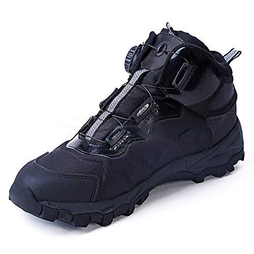 Zapatos de senderismo de los hombres, hebilla automática Medio-Top Desierto Formación zapatillas de deporte, resistente a arañazos completa suela de goma zapatos, para acampar Mountaining,Negro,43