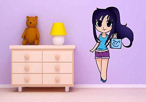 wandmotiv24 Stickers muraux Sticker Mural n ° 757 Fille avec étui, Dimensions : 43 x 75 cm, décoration Murale, Stickers Manga Anime Japan