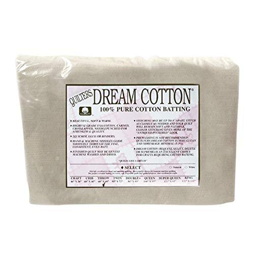 "Quilters Dream Batting QDN3TH Natural Cotton Request 60"" x 60"" Thin Loft Throw"