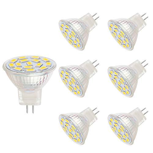 3.5 W MR11 LED Lampe, entspricht 25-35W Halogenlampen, GU4.0-Sockel, AC/DC 12V,350lm, Einbauleuchte, Bahnbeleuchtung, warmweiß(3000K,6pcs)