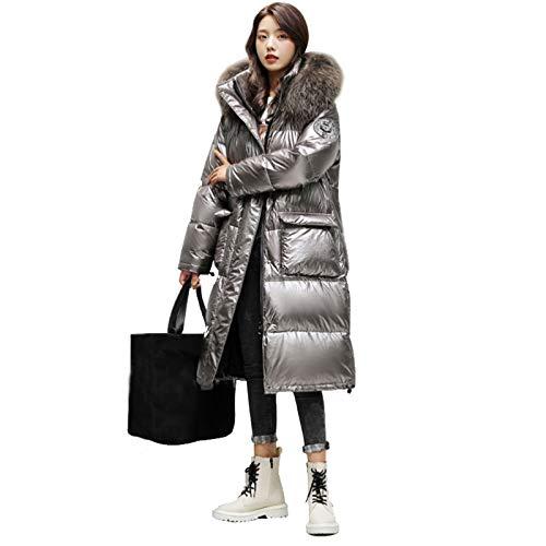 YSXSTTK Chaqueta de invierno larga con capucha para mujer, informal, impermeable, de plumón, con bolsillos, cuello de piel sintética (color: plata, talla: L)
