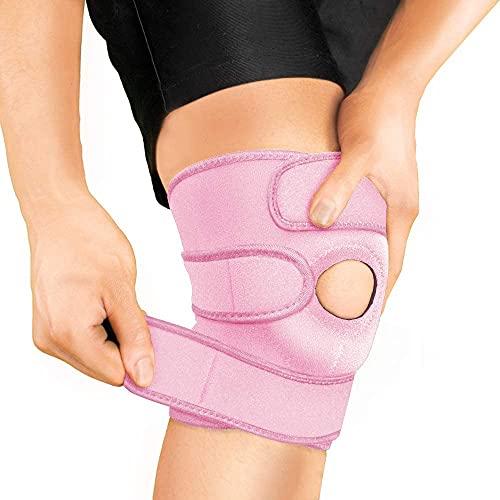 BRACOO KS10 - Rodillera deportiva y diaria - Rodillera con cierre de velcro y almohadillas para hombre y mujer, para correr, senderismo, correr, deporte, voleibol, color rosa