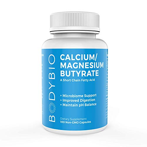 BodyBio Butyrate with Calcium & Magnesium - Supports Healthy Digestion, Gut & Microbiome - Increases Leptin Production for Appetite Control - No Fillers or Additives - 100 Capsules