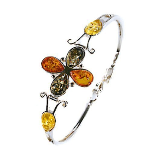 Multicolor Bernstein Sterling Silber 925Blumen. Armreif bracelet7.4