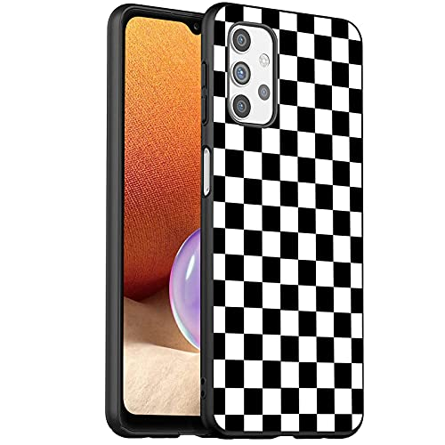 Compatible with Galaxy A32 5G case,Premium Soft Silicone Rubber Full-Body Protective Bumper Case for Samsung Galaxy A32 5G 6.5 Inch,Black White Checkered
