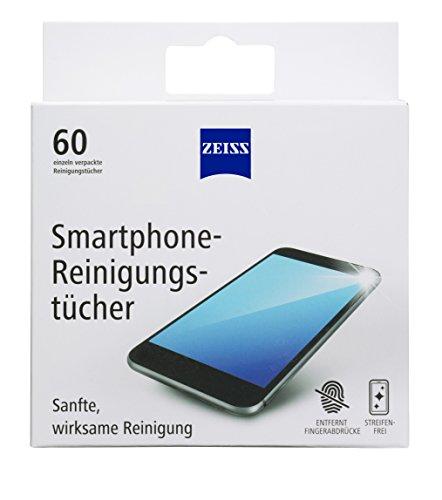 ZEISS Smartphone-Reinigungstücher alkoholfrei 60 Stück zur sicheren & effektiven Reinigung optischer Flächen - jedes Tuch einzeln verpackt - ideal für unterwegs oder auf Reisen