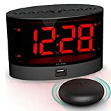ANJANK Extra Loud Alarm Clock with Wireless Bed Shaker, Vibrating Dual Alarm Clock for Heavy Sleepers, Deaf and Hearing-impaired, Adjustable Volume/Dimmer/Wake up Mode, USB Charger Port, Pillow Shaker