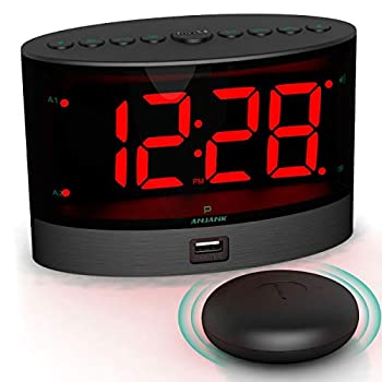 ANJANK Extra Loud Alarm Clock with Wireless Bed Shaker Vibrating Dual Alarm Clock for Heavy Sleepers Deaf and Hearing-impaired Adjustable Volume/Dimmer/Wake up Mode USB Charger Port Pillow Shaker