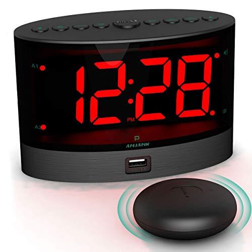 ANJANK Extrem Lauter Kabelloser Vibrations Wecker Mit Elektrischer Shaker Für Gehörlose / Hörgeschädigte / Tiefschläfer , Doppelalarm , Batterie Backup , USB Ladegerät , Großes Digital LED Anzeige
