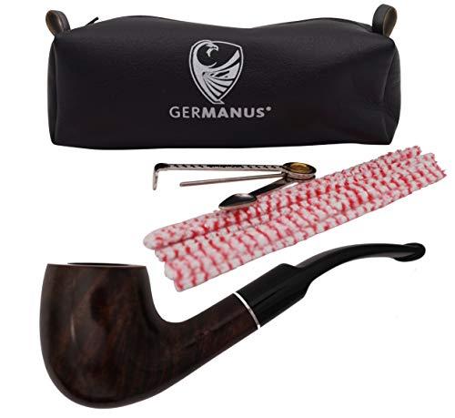 GERMANUS Pfeife Set, Bent - Made in Italy - gebogen gewachst im Set mit Pfeifentasche, Pfeifenbesteck, Pfeifenreiniger, Filter