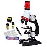 Timetided Microscopio para niños Juego de 1200 Veces Experimento científico Material didáctico Juguetes de Ciencia Microscopio de enseñanza de biología para niños