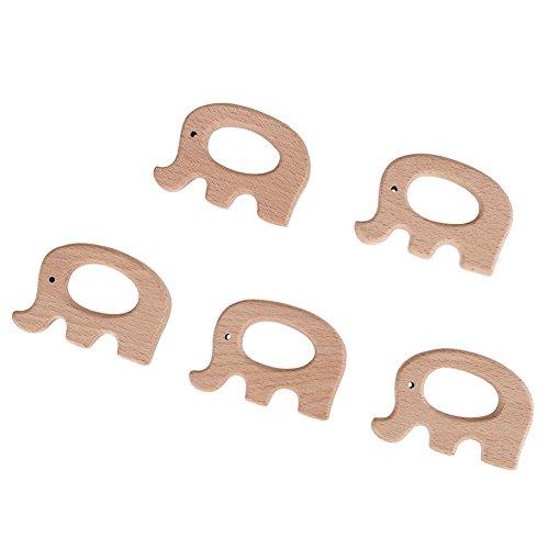 Mordedor para bebés, Animal de madera Mordedor para bebés Juguete de dentición Accesorios de madera para dentición para bebés Decoraciones colgantes de bricolaje Estilo Montessori (5pcs pcs(Elephant)