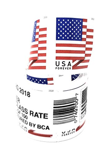 100 US Flag Forever Postage Stamps (Coil) - Roll of 100 Stamps, Stamp Design May Vary
