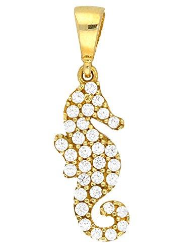 MyGold zeepaardje hanger (zonder ketting) geel goud 333 goud (8 karaat) met steen 32 zirkonia 22 mm x 7 mm gouden hanger kettinghanger gouden ketting geschenken voor vrouwen blogger trends Mira V0013814