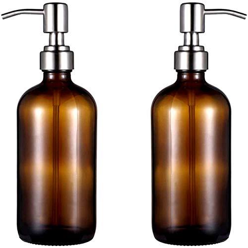 Botella de vidrio ámbar con bomba de vacío | Juego de 2 | Tapa de acero inoxidable | 500 ML | Dispensador para jabón líquido gel champú aceite esencial loción | Alta calidad | Reciclable | Sin BPA