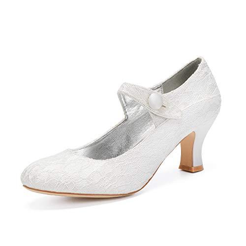 Zapatos Novia Encaje Satén Punta Cerrada con Tacon Medio Mujer Zapatos Vestir...