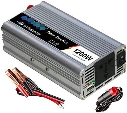 Convertidor de inversor de energía 1200W de alta eficiencia CAR DC Inversores de potencia DC 12 / 24V a AC 110 ~ 120V / 220 ~ 230V con tomas de CA universales y puertos USB (pico 2400W) para automóvil