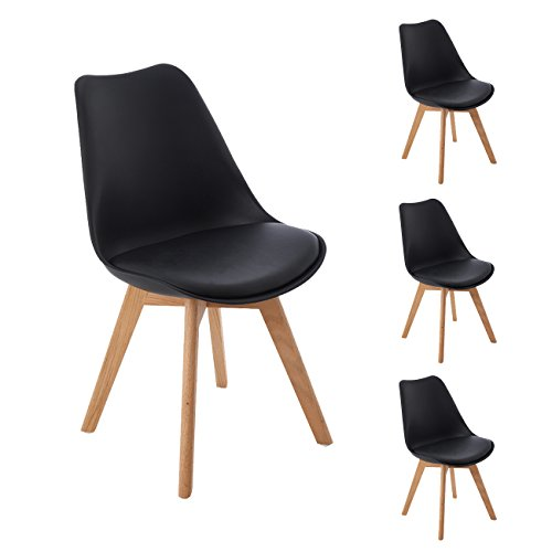 DORAFAIR 4er Set Esszimmerstühle skandinavisches Design mit Massivholz Eiche Bein und Kissen, Schwarz