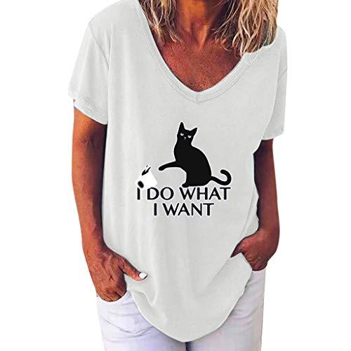 Shinehua T-shirt met korte mouwen voor dames, zomer, V-hals, losse shirt, bovenstuk, vleermuismouwen, blouses, korte mouwen, tuniek-shirts, casual, casual blousenshirt XX-Large wit