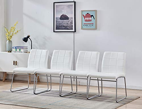 Modern Dining Chairs Set of 4, Dining Room Chairs with Faux Leather Padded Seat Back in Checkered Pattern and Sled Chrome Legs, Kitchen Chairs for Dining Room, Kitchen, Living Room,White Chairs