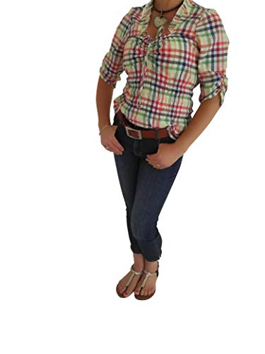 By Johanna Trachtenbluse Damen Bluse Dirndlbluse Karobluse Mehrfarbig kariert. Rüschenbluse zur Trachten Jeans, Lederhose, Rock 40
